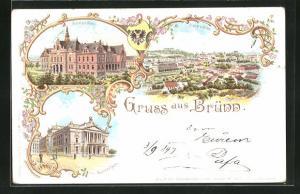 Lithographie Brünn / Brno, Ortsansicht, Deutsches Haus, Deutsches Theater, Wappen