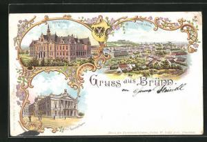 Lithographie Brünn / Brno, Ortsansicht, Deutsches Haus und Deutsches Theater