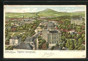 Lithographie Teplitz Schönau, Panorama mit Blick nach dem Schlossberg