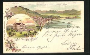 Lithographie Bregenz, Hotel Pension Pfänder mit Scesaplana, Panorama mit Gallinakopf, Drei Schwestern u. Tödi