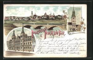 Lithographie Pardubice, Gesamtansicht, Radnice, Zelena brana