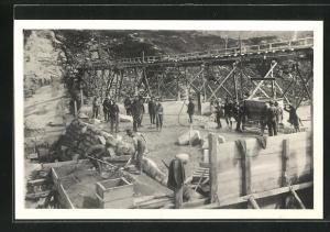 AK Stubach, Böhler Pressluft Stampfer beim Bau der Staumauer des Kraftwerkes