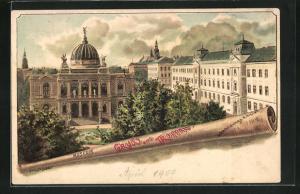 Künstler-Lithographie Erwin Spindler: Troppau, Museum und Lehrerbildungs-Anstalt