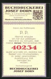 AK Wien, Buchdruckerei Josef Zorn, Leopoldsgasse 1