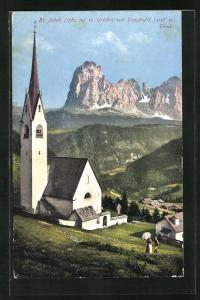 AK St. Ulrich in Gröden, Kirche St. Jakob mit Langkofel