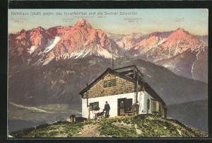 AK Helmhaus, Ortsansicht gegen das Innerfeldthal und die Sextner Dolomiten