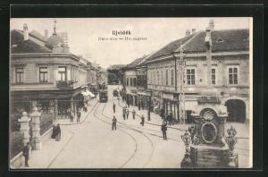 AK Ujvidek, Donaugasse mit Strassenbahn