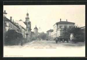 AK Schaffhausen, Bahnhofstrasse mit Strassenbahn