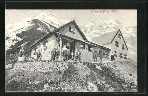 AK Bettelwurf-Hütte mit Bergpanorama