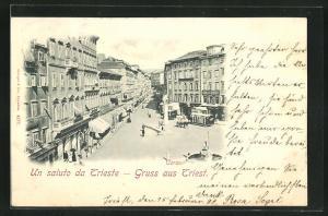 AK Trieste, Corso aus der Vogelschau