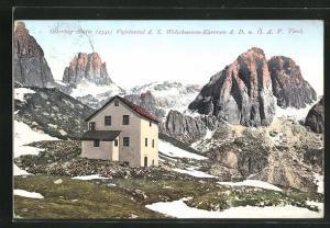 AK Ostertag-Hütte Vajolontal d. S. Welschnoven-Karersee d. D. u. Ö. A. V., Ortsansicht