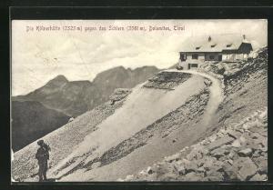 AK Kölnerhütte, Blick gegen den Schlern, Dolomiten