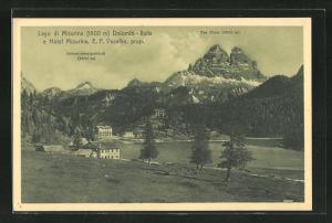 AK Lago di Misurina, Hotel Misurina, E. F. Vecellio, Schwalbenalpenkofl, Tre Cime