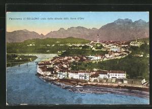 AK Belluno, visto dalla strada della Vena d`Oro, Totalansicht mit Fluss, Brücken, Häuser, Kirche und Berge