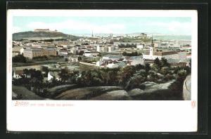 AK Brünn / Brno, Totalansicht vom roten Berge aus gesehen mit Häuser und Kirchen
