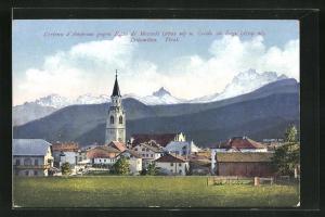 AK Cortina d'Ampezzo, Ortsansicht gegen Becco di Mezzodi & Croda da Lago