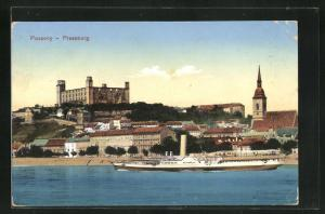 AK Pozsony-Pressburg, Ortsansicht, Dampfer