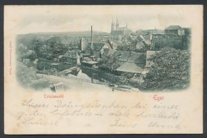 Relief-AK Eger, Teilansicht der Stadt
