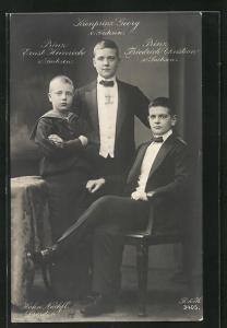 Foto-AK Walter Hahn, Nachfolger: Kronprinz Georg, Prinz Ernst Heinrich, Prinz Friedrich Christian von Sachsen