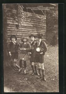 AK Les Princes Leopold de Belgique, Erbprinz Luitpold und Albert de Baviere et la Princesse Marie-Jose de Belgique