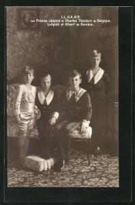 AK Les Princes Leopold et Charles Theodore de Belgique, Erbprinz Luitpold et Albert de Baviere in Zimmer