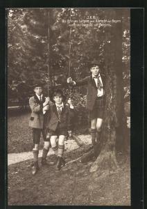 AK Erbprinz Luitpold und Albrecht von Bayern mit Prinz Leopold von Belgien auf Schaukel
