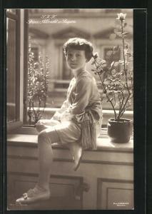 AK S. K. H. Prinz Albrecht in Anzug mit kurzen Hosen und Kordel an Fenster sitzend