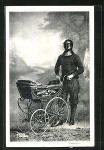 AK Expedition, Mann mit eiserner Maske schiebt Kinderwagen, Walking round the World