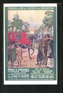 AK Tourismus, Soldaten auf Pferden mit Bevölkerung, Chemins de Fer de l`Ouest et de Brighton