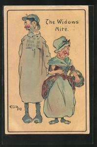 Künstler-AK frauenfeindlicher Humor, The Widows Mite, Frauen mit roten Nasen