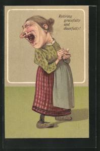 Präge-Lithographie frauenfeindlicher Humor, alte Frau mit drei Zähnen im Mund, Retiring gracefully and cheerfully
