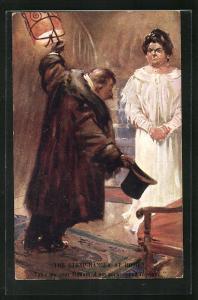 AK The Strap Hanger at Home: Take my seat Madam..., Trinker und wütende Ehefrau