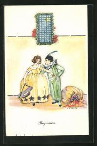 Künstler-AK sign. Shand: Beginners, Harlekin mit Mädchen, Art Deco