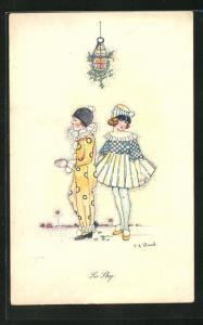 Künstler-AK sign. Shand: So Shy, Harlekin und Mädchen, Art Deco