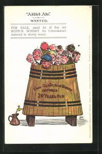 AK Addled Ads, Wanted, Scherz, Männer in Whiskyfass