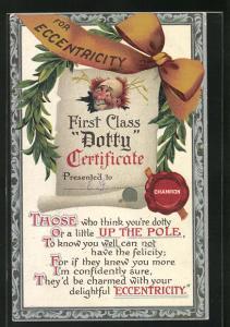 AK For Eccentricity, First Class Dotty Certificate, Trinkerhumor