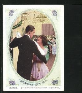 Mini-AK Dreams of long ago, tanzendes Paar auf Ball