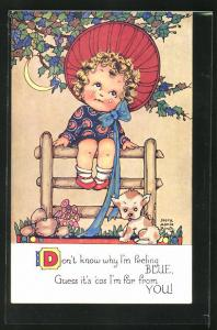 Künstler-AK sign. Nora Annie Birch: trauriges Mädchen mit Hund auf einem Holzzaun sitzend