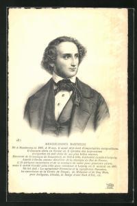 AK Portrait Mendelsohn Bartoldi als junger Mann in Anzug mit Weste und Tuch an Kragen