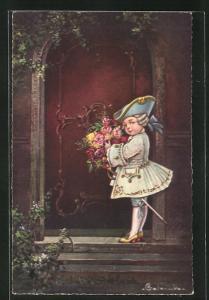 Künstler-AK E. Colombo: kleiner Rosenkavalier in Rokokokostüm steht vor Tür mit Blumenstrauss