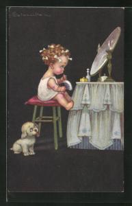 Künstler-AK E. Colombo: Kleines Mädchen mit Hund sitzt am Schminktisch