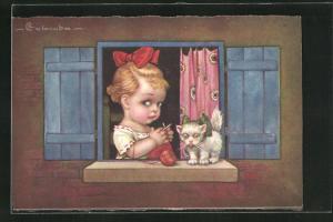 Künstler-AK E. Colombo: strickendes Mädchen mit Katze