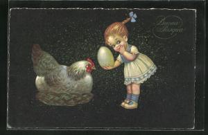 Künstler-AK E. Colombo: Buona Pasqua, Mädchen mit Ei und Henne