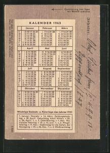 Kalender 1943, Absender Deggendorf, Kraftfahr-Ausb.-Abt. 13, Stempel Rückseitig