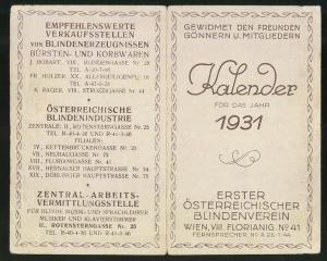 Kalender 1931, Erster Österreichischer Blindenverein Wien