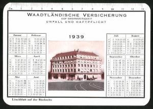 Kalender 1939, Waadtländische Versicherung Unfall - und Haftpflicht, Geschäftshaus, Löschblatt Rückseitig