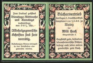 Kalender 1924, Büchervertrieb Willi Huch in Mainz, Bingerstrasse 9
