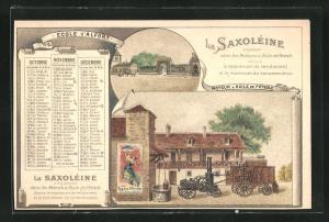 Kalender 1896, Oktober - Dezember, La Saxoleine Petrole De Surete, Petroleum-Motor mit Reimenantrieb für Maschinen