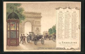 Kalender 1896, April - Juni, Saxoleine Petrole De Surete, Petroleum-Auto vor dem Triumphbogen in Paris