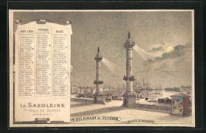 Kalender 1896, Januar bis März, Saxoleine Petrole De Surete, Phares de Bordeaux, Leuchtturm